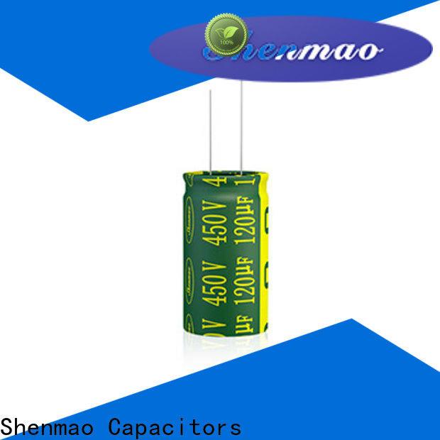 Shenmao radial aluminum electrolytic capacitors bulk production for DC blocking