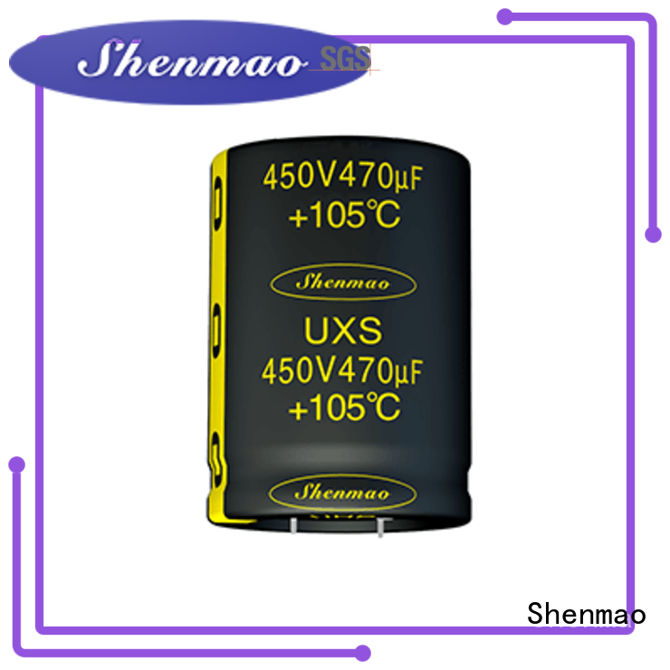 Shenmao high quality low profile aluminum electrolytic capacitors for DC blocking