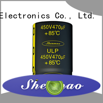 Shenmao stable snap in electrolytic capacitors bulk production for DC blocking