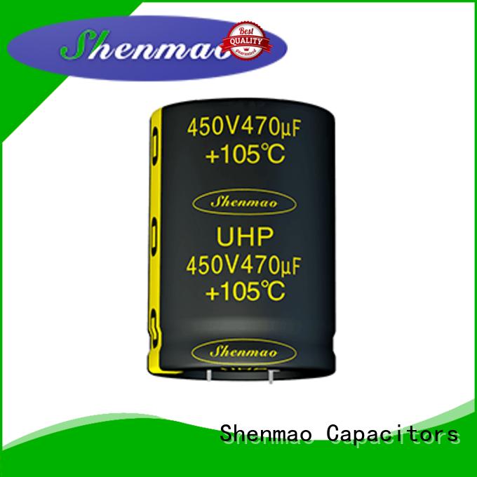 Shenmao snap in aluminum electrolytic capacitors marketing for DC blocking