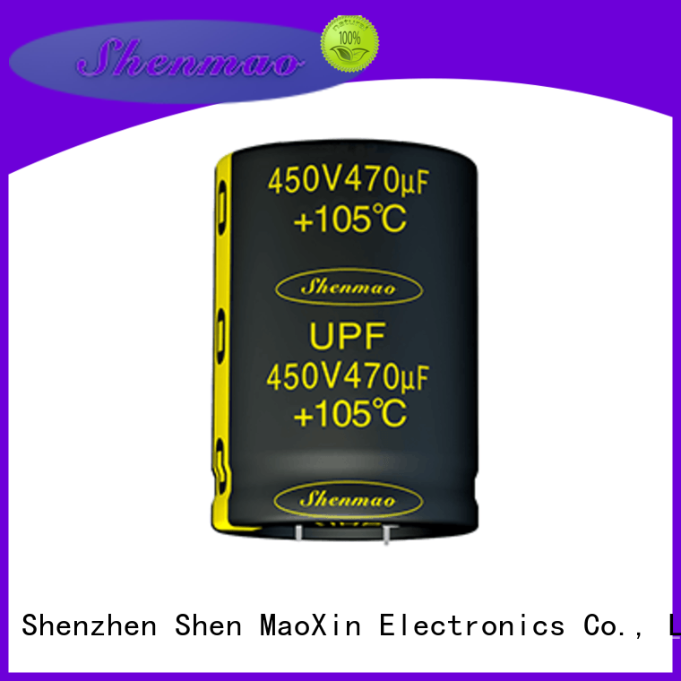 Shenmao snap in aluminum electrolytic capacitors bulk production for tuning